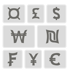 Monochrome icons with currency symbols vector