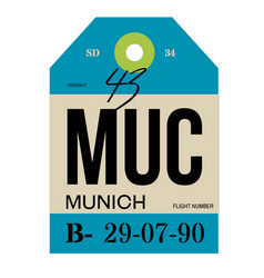 Munich airport luggage tag vector