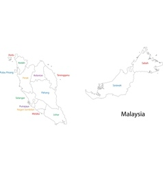 Outline Malaysia map vector