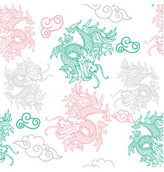 Pattern with japan dragons vector