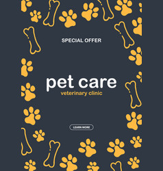 Pet care home animals banner with cat or dog vector