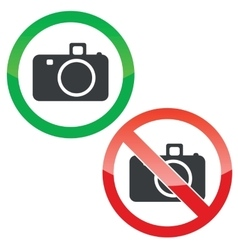 Photography permission signs set vector