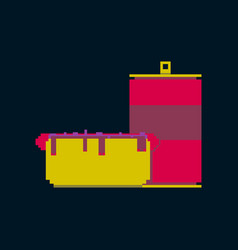 Pixel icon in flat style soda and hot dog vector
