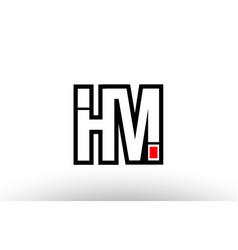 Red and black alphabet letter hm h m logo vector