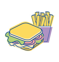 sandwich with fries french icon vector image