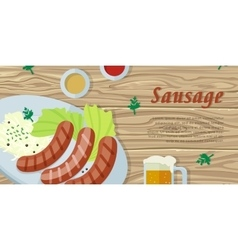 Sausage on the Plate Isolated on Wooden Background vector