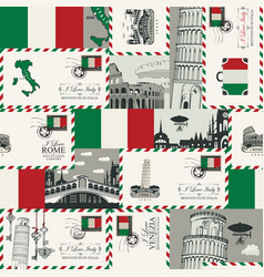 Seamless pattern on theme italy vector