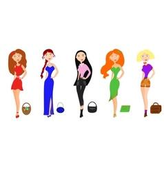 set fashion girls vector image