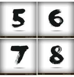 Set of calligraphic watercolor numbers vector