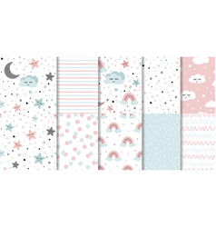 set sweet pink seamless pattern sleeping cloud vector image