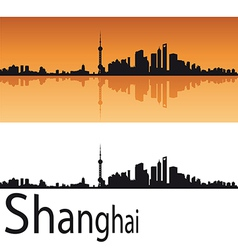 Shanghai skyline in orange background vector