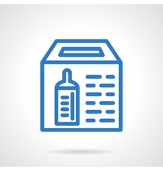 Simple blue line donation box icon vector