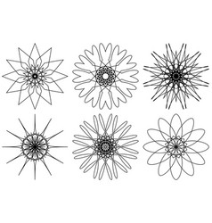 Spirograph design elements isolated on white vector
