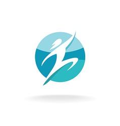 Sport human run and jump logo template man vector