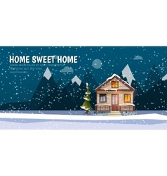 Sweet family home among mountains A winter banner vector image