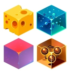 Textures for platformers icons 3d set vector