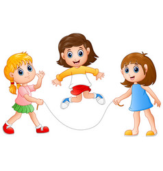 three girls playing jump rope vector image