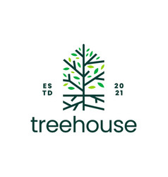 Tree root house home mortgage logo icon vector