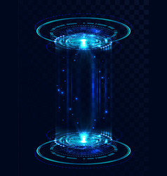 Two holograms in hud style futuristic portals vector