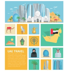 United Arab Emirates Decorative Icons Set vector image