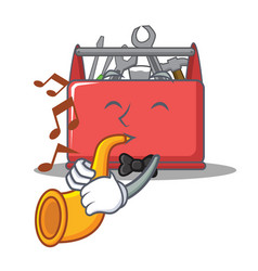 with trumpet tool box character cartoon vector image
