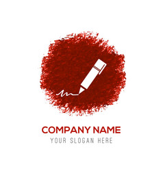 Writing pen icon - red watercolor circle splash vector