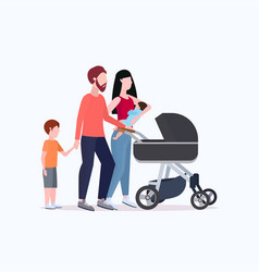 Young parents pushing stroller walking vector
