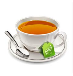 cup of tea with tea bag vector image