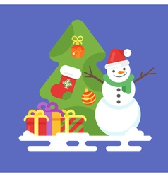 flat style with snowman presents and Christmas vector image vector image