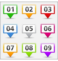 Map Pins with Numbers vector image vector image