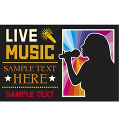 girl singing a song poster vector image vector image