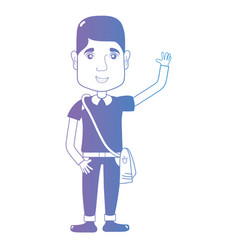 line avatar man with hairstyle and clothes vector image