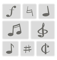monochrome icons with musical symbols vector image vector image
