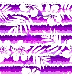 Purple bright flowers and painted stripes seamless vector image