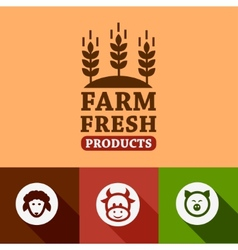 flat farm products emblems vector image