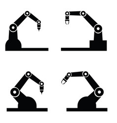Industry robot icons set vector