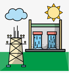 Tanks hydraulic energy and energy tower vector