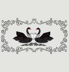 black birds in love with floral decoration couple vector image vector image