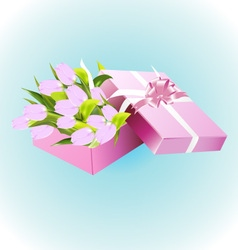 Box with tulips vector image vector image