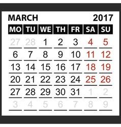 calendar sheet March 2017 vector image