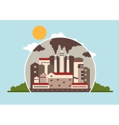 Factory polluting atmosphere vector