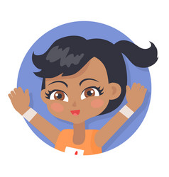 girl with raised hands black pigtail and forelock vector image