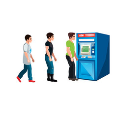 people waiting to queue to an atm vector image