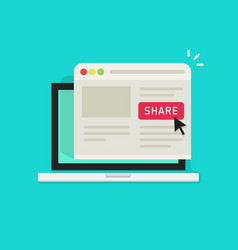 sharing website page via share button on browser vector image vector image
