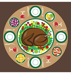 Thanksgiving Day with traditional dishes vector image vector image