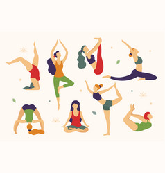 women are doing yoga in different poses vector image