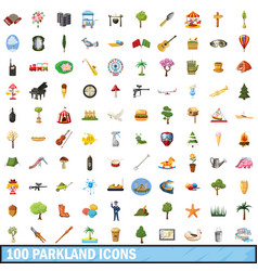 100 parkland icons set cartoon style vector image