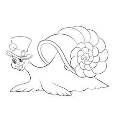 a children coloring bookpage a cartoon snail vector image
