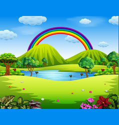 a colorfull garden with the beautiful rainbow vector image