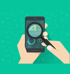 analytics data on mobile phone screen analysing vector image